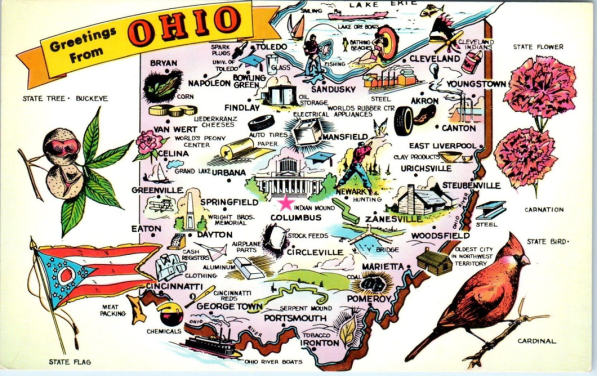 color map of ohio from hippostcard dot com