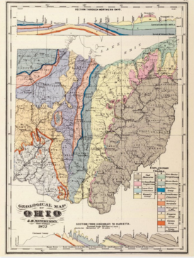 geology map of ohio on a postcard